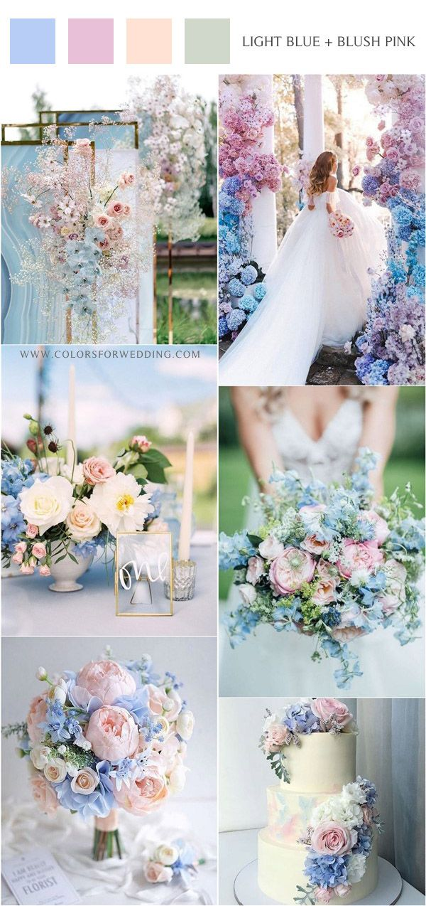 20 Light Blue and Blush Pink Wedding Colors for Spring Summer 2020