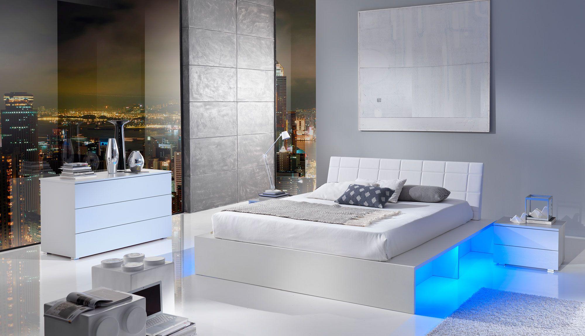 white modern bedroom with blue led lights | Modern bedroom ...