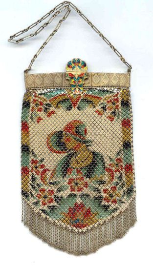 Butterfly Catchers Figural Beaded Purse with Jeweled Frame