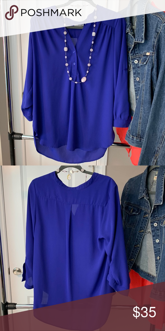 7a19f18a71f Blue 3/4 sleeve blouse Great for work or play, shear blouse Halogen ...