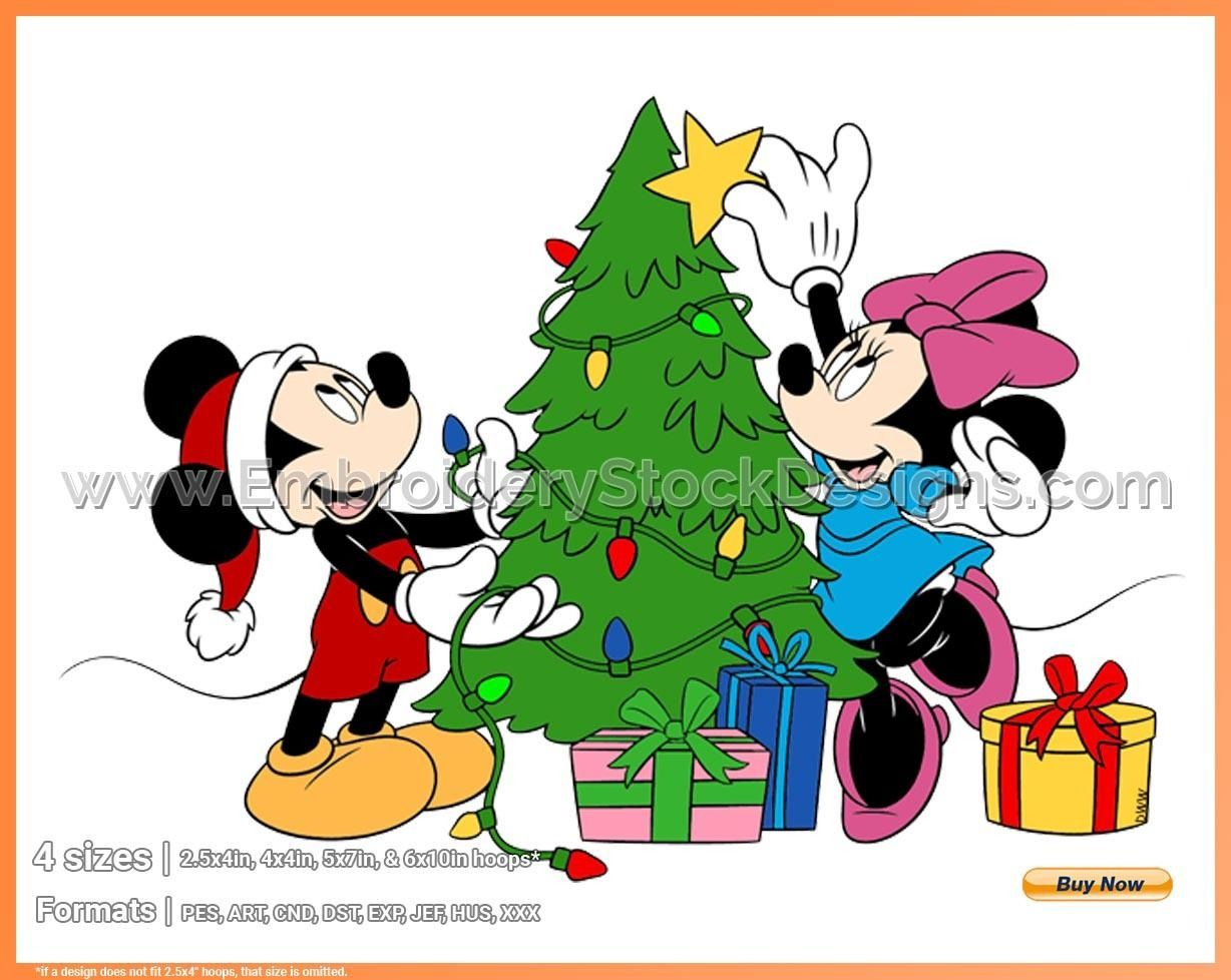 Mickey Minnie Decorating Tree Mickey Mouse Christmas Holiday Disney Character Designs In 4 Sizes Embroidery Dsnyh000634 Embroidery Stock Designs In 2020 Mickey Mouse Christmas Mickey Mouse Png Mickey Christmas