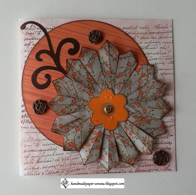 teabag folding flower on a vintage card  crafts handmade