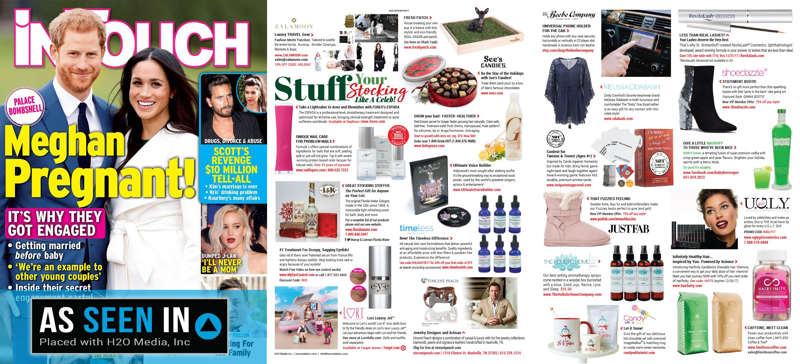 Check out Meghan and Harry + our holiday gift guide spread featured in the December 18, 2017 issue of In Touch Weekly.
