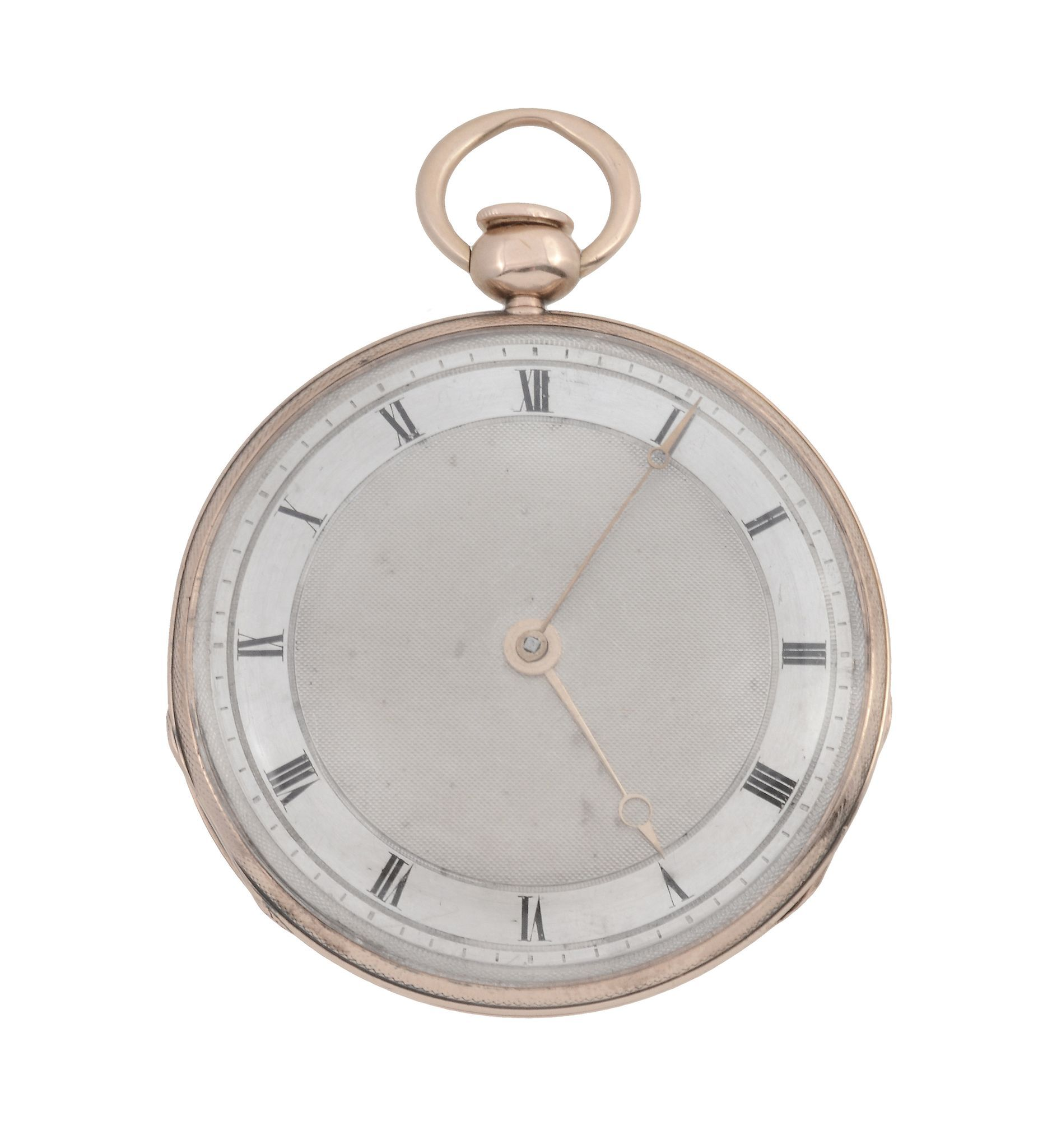 A slim rose gold quarter repeating jewelled cylinder open face watch, signed Breguet, no.4767, circa 1825