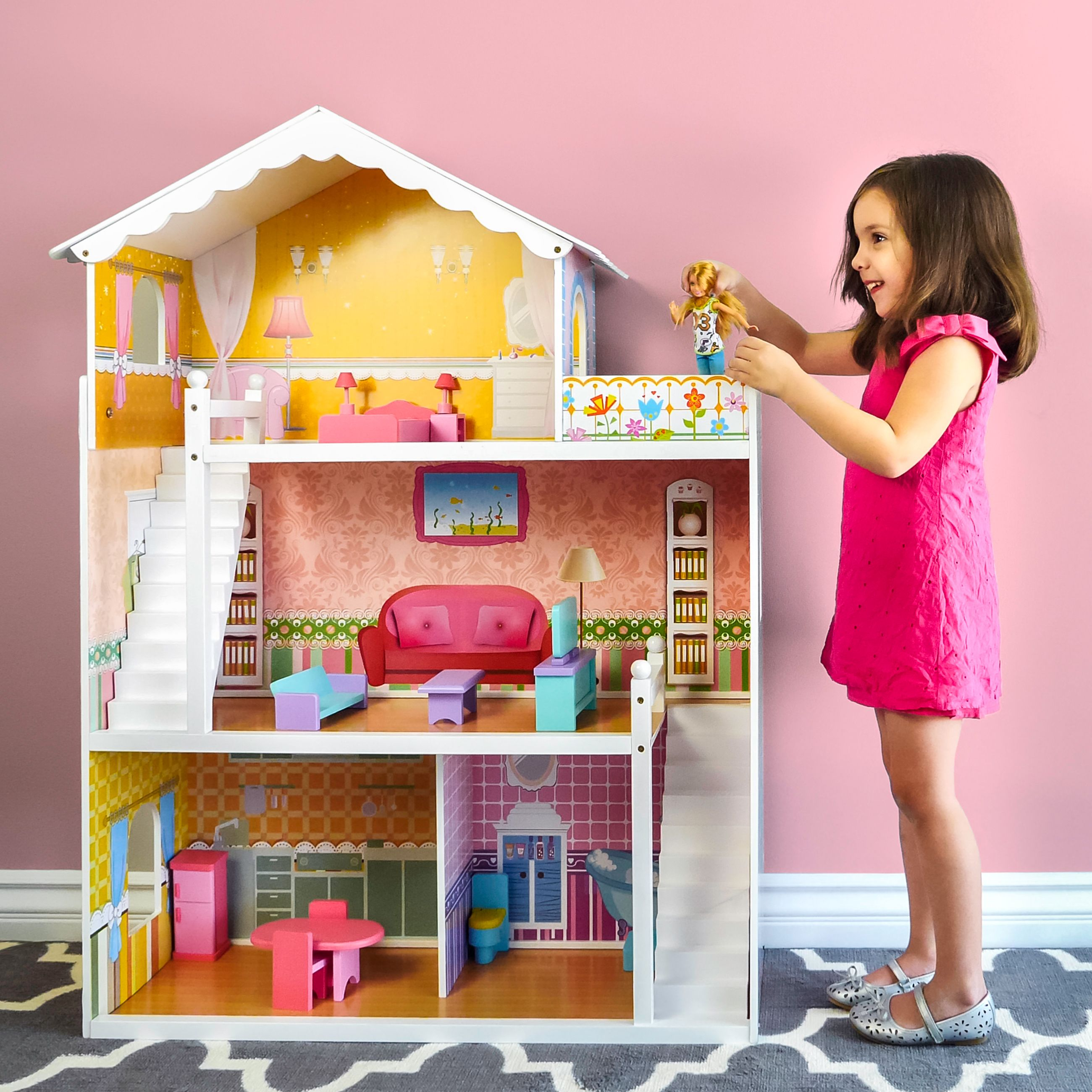 Childrens Wooden Dollhouse Fits Barbie
