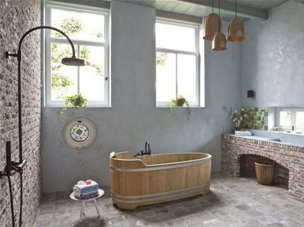 rustikale badezimmer wanne holz dusche stein - Rustikale Badezimmermoebel