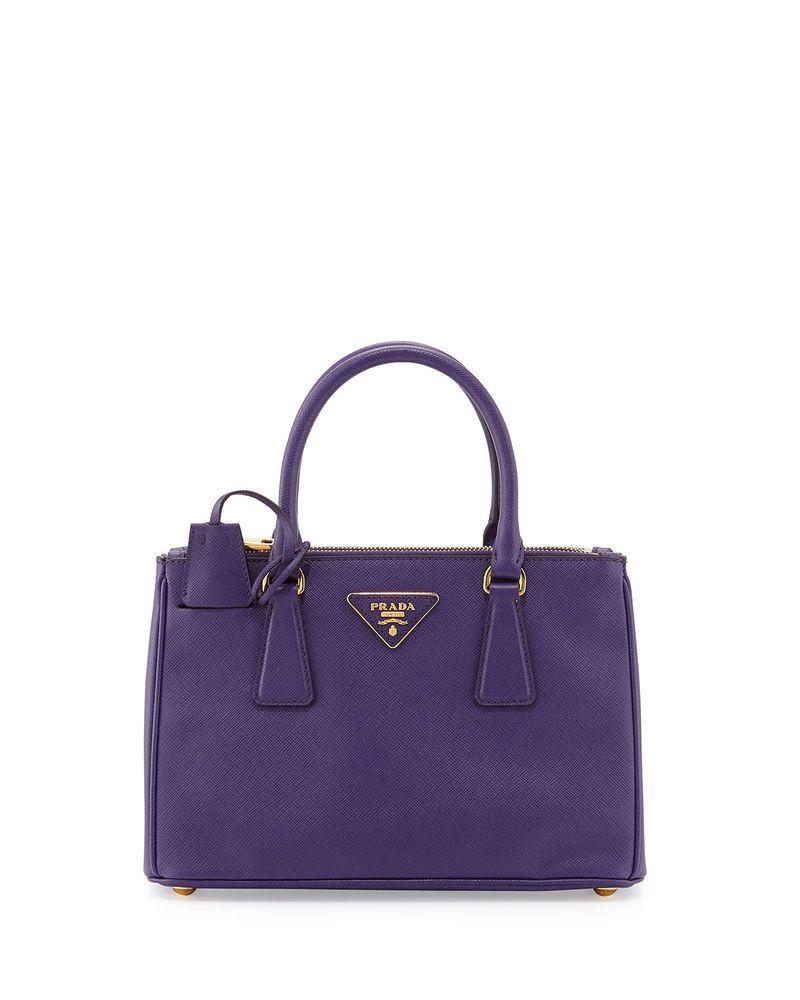 Prada Saffiano Double Zip Satchel Handbag Violet Viola New
