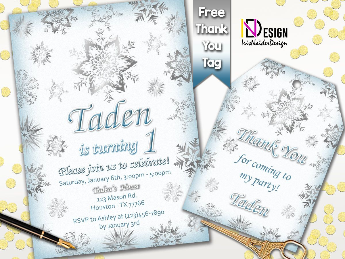Snowflake Birthday Invitation Boy Winter Birthday Invitation