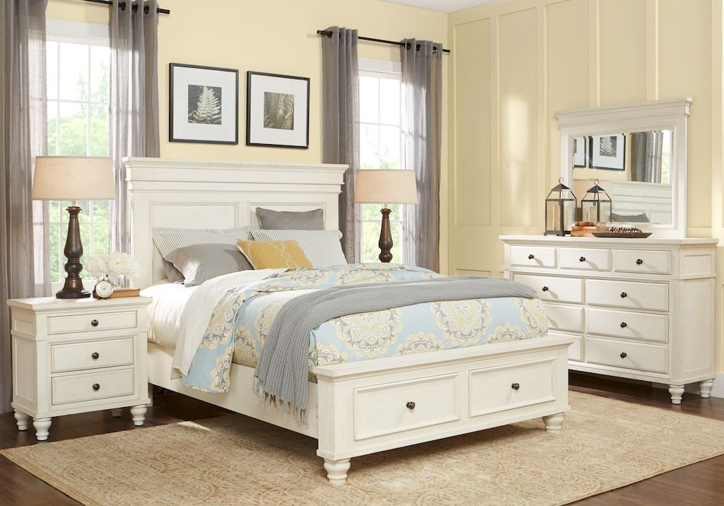 lake town offwhite 5 pc queen panel bedroom with storage