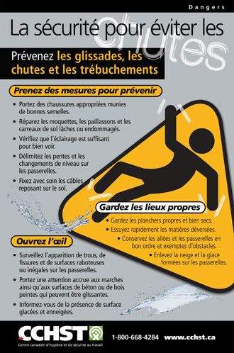 Comment Prevenir Les Glissades Les Chutes Et Les Trebuchements Au Travail Telecharg Occupational Health And Safety Health And Safety Poster Health And Safety