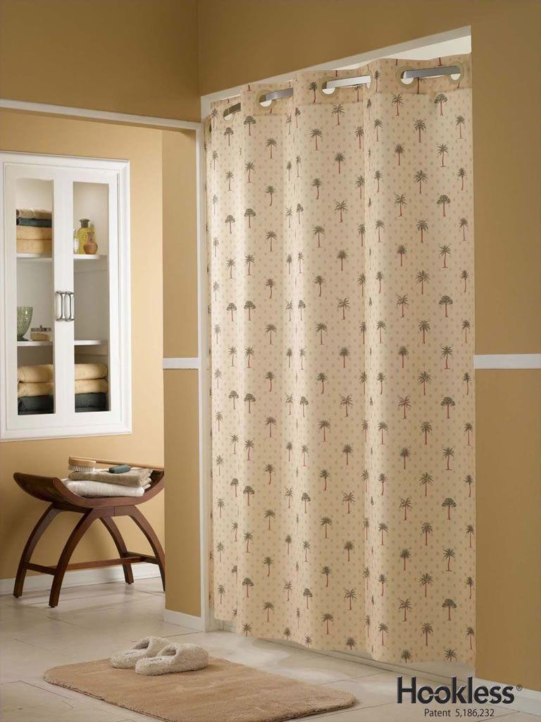 Badezimmer dekor ideen für mädchen tropical palm tree hookless shower curtain  palm tree shower