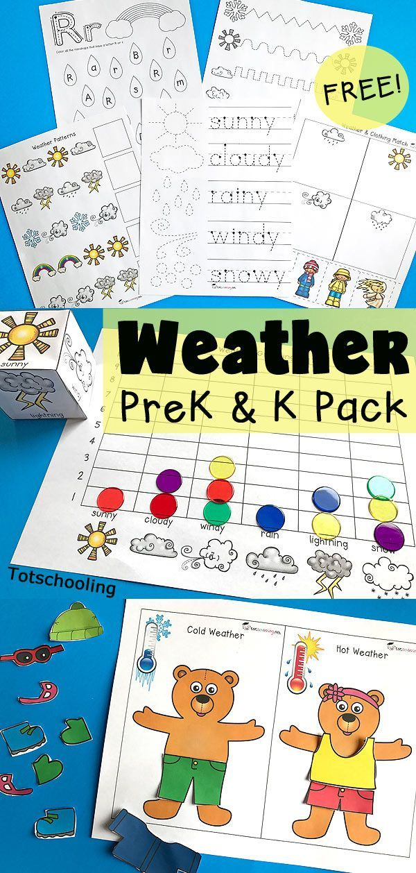 Weather Pack for Preschool and Kindergarten | PreK Goodness | Pinterest