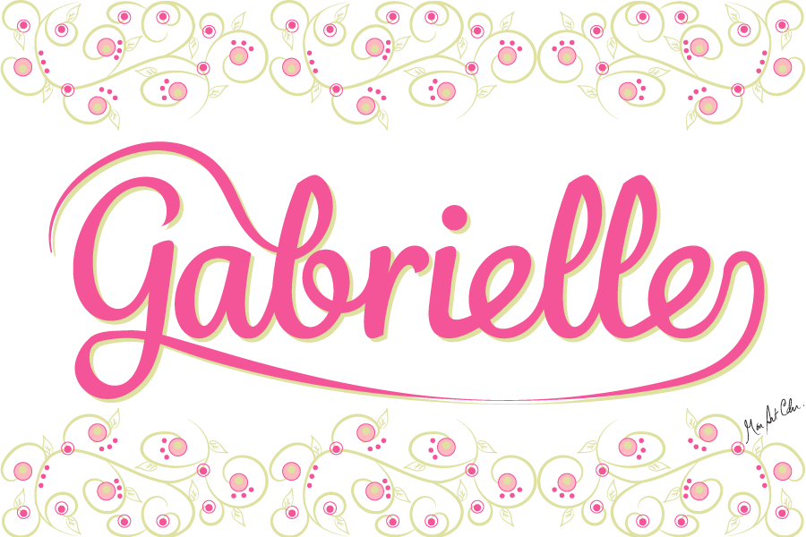 Gabrielle, rose et vert, boutons de rose et garnitures