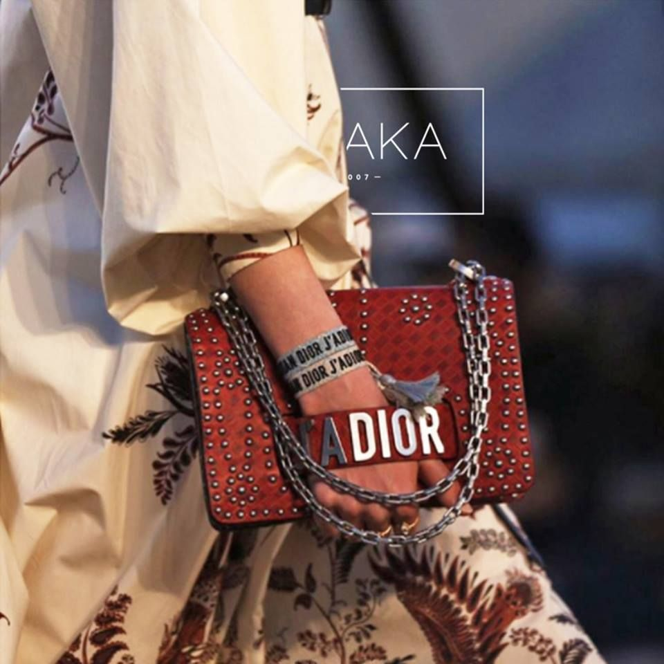 1706f01acf13 Gorgeous Dress and Red Studded J adior Flap Bag from the Dior Cruise 2018  Runway Show
