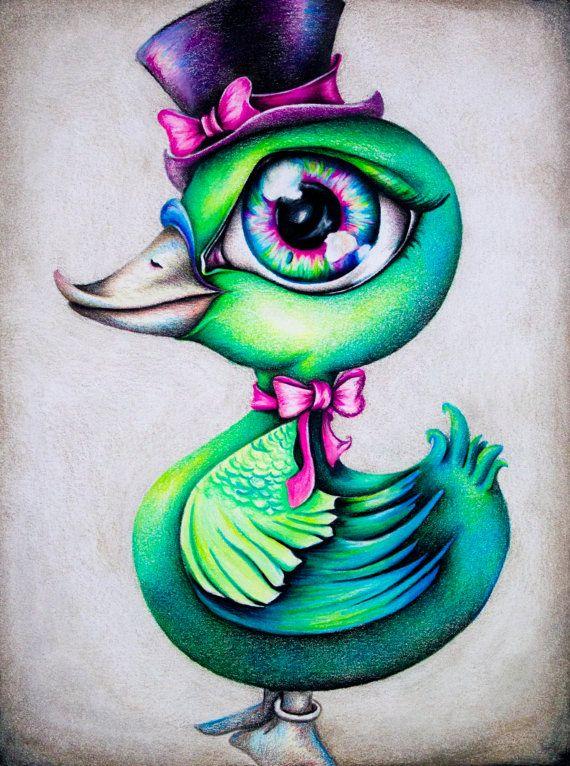 Ducky 6.5 x 8.5 Original by AshleysEccentricArt on Etsy