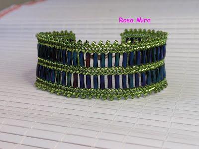 Con perlas y a lo loco...: Pulsera de tubitos en verde PU.0035