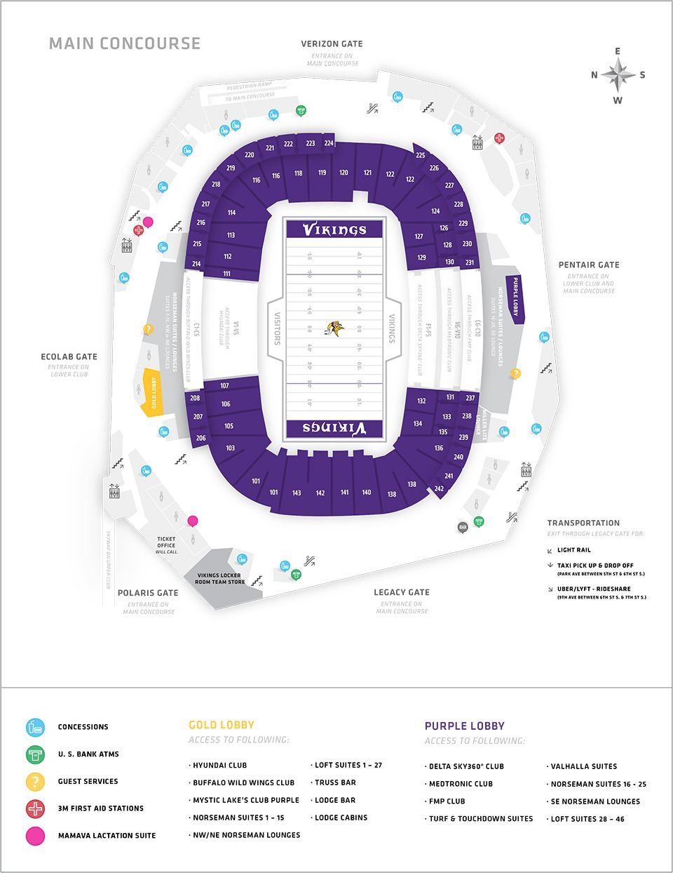 Minnesota Vikings US Bank Stadium Map Seating Chart STUFF - Us bank stadium concourse map