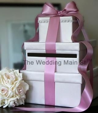 Wedding Post Box In Silver With Thick Black Ribbon And Some Sparkle