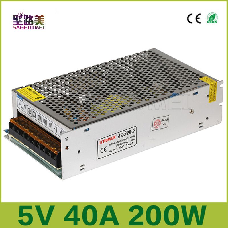 2016 New Free Shipping Dc5v 40a 200w Regulated Switching Power Supply Dc5 Voltage Transformer For Cctv Psu Led Str Light Accessories Led Strip Led Power Supply