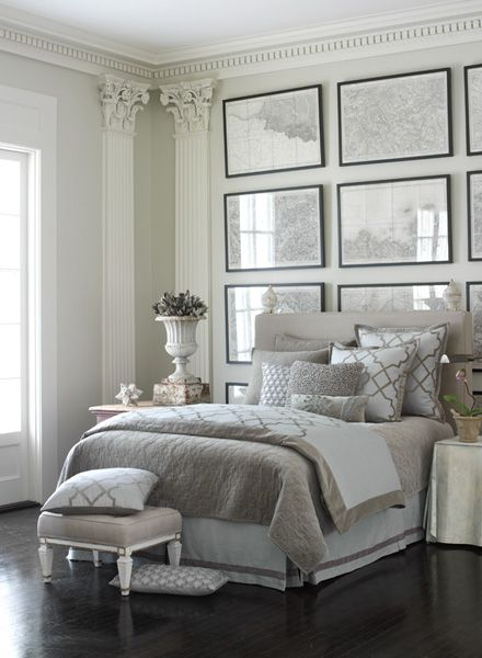 Luxe grey and white bedroom frame wall decor sophisticated ...