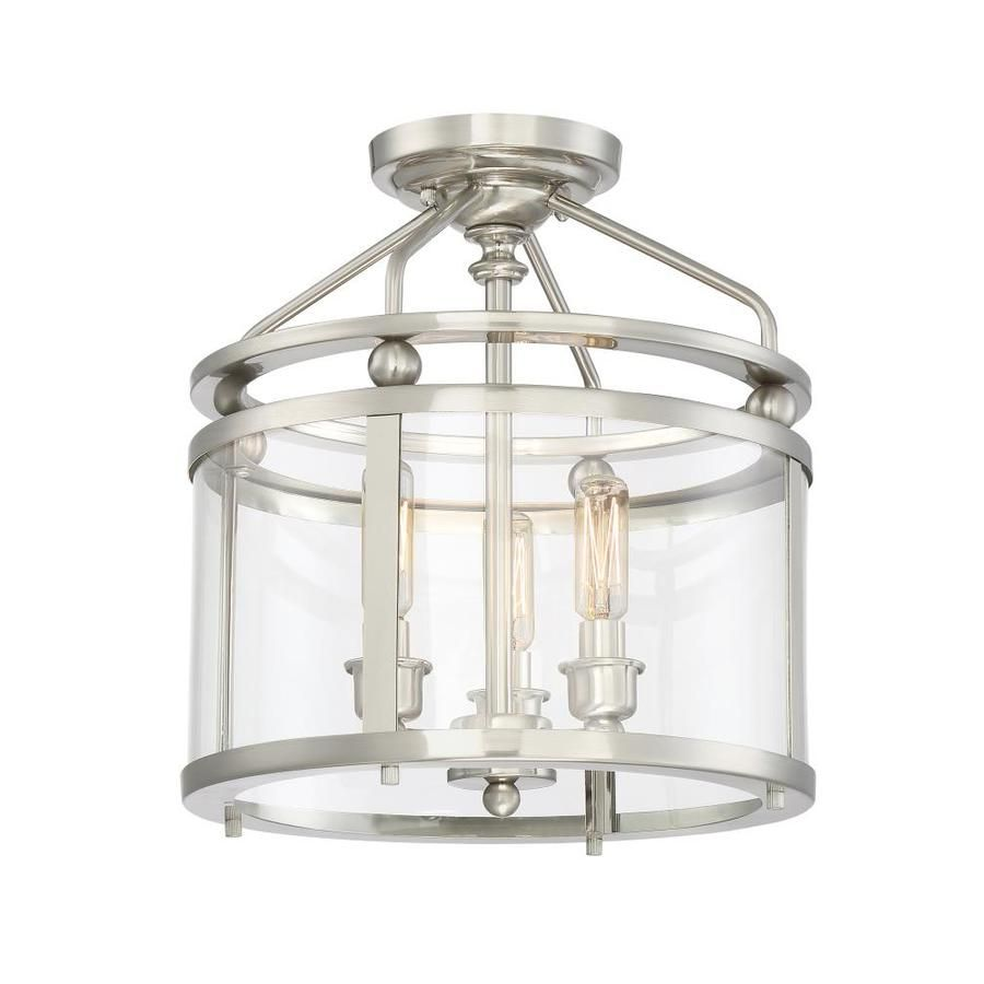 Quoizel norfolk 1187 in w brushed nickel clear glass semi flush quoizel norfolk 1187 in w brushed nickel clear glass semi flush mount light arubaitofo Image collections