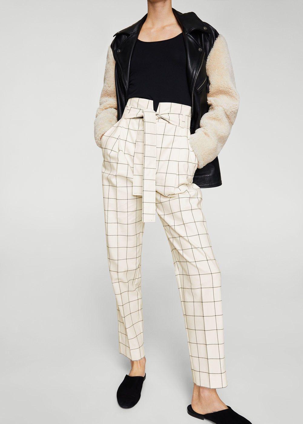 4f14d981c94 Pantalón cuadros cinturón - Pantalones de Mujer