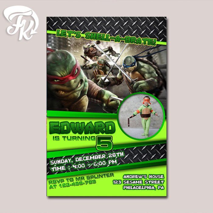 TMNT Shell a Bration Birthday Party Card Digital Invitation With - best of invitation party card