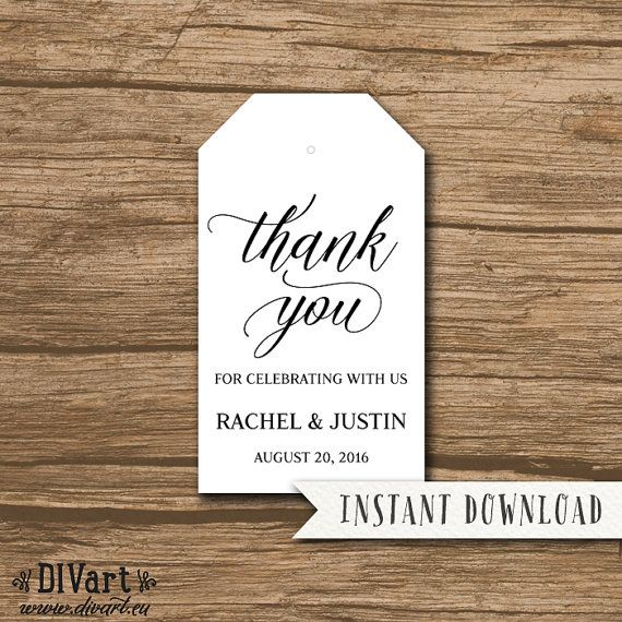 Rustic Wedding Favor Tag Template Thank You Tag Hang Tag by DIVart - hang tag template