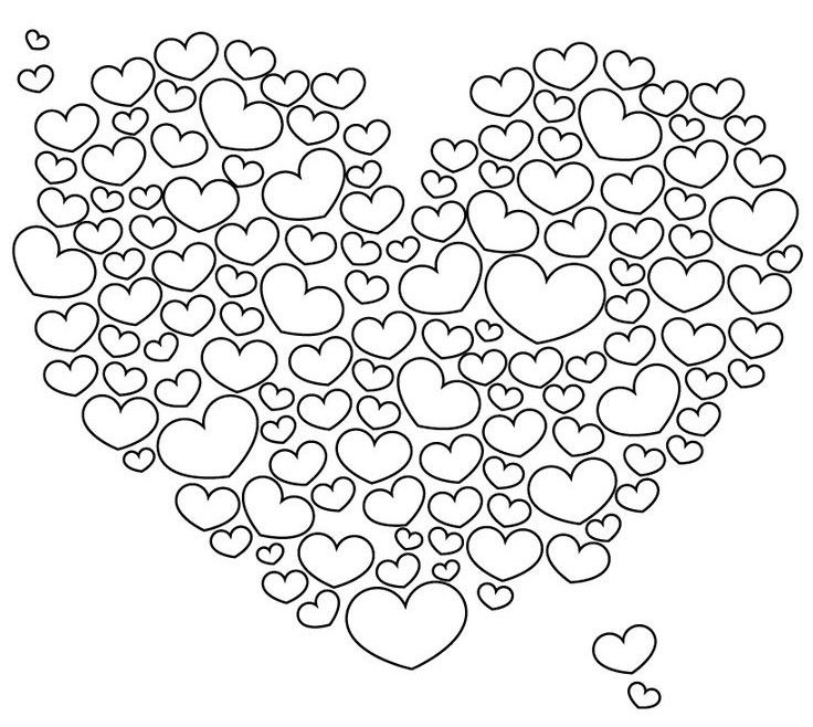 Cloud of hearts | Heart coloring pages, Shape coloring ...