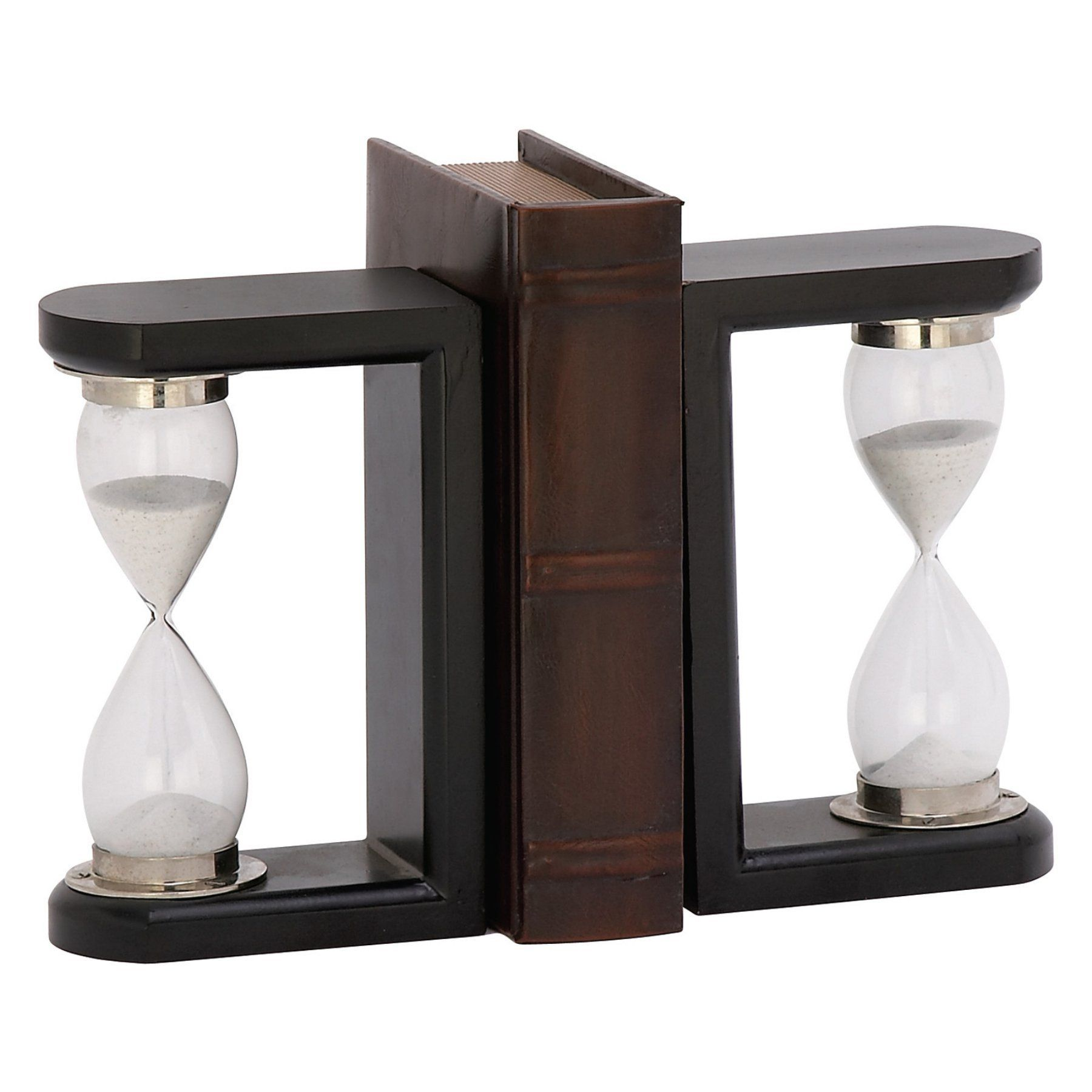 Decmode Timer Wood And Glass Bookends  30948