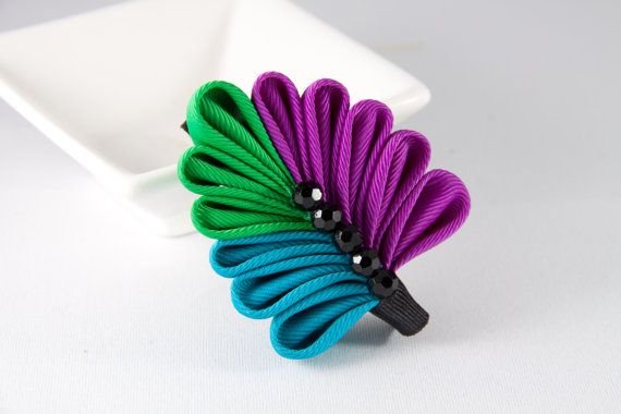 Purple Blue and Green Hair Clip Kanzashi by DesignsInBlooms, $12.00