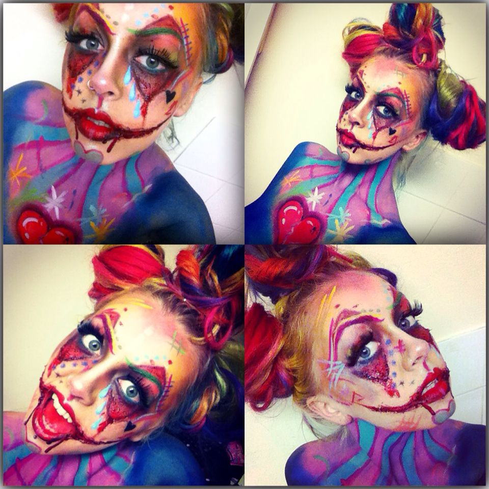 Psycho crazy colourful clown makeup. Sfx clown makeup . Halloween ...