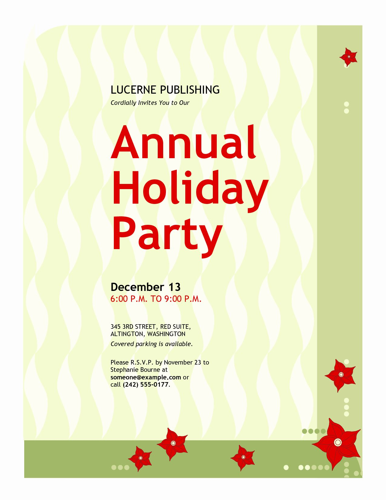 Annual Holiday Party Invitation Template Lovely Hall