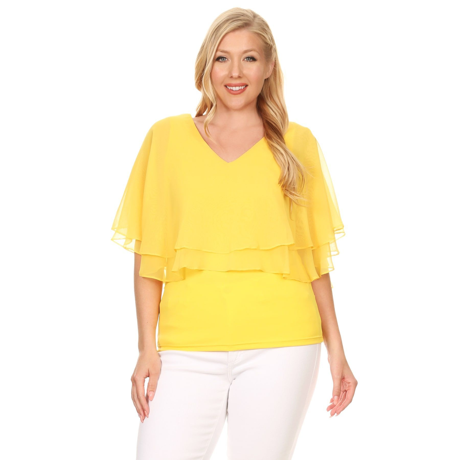 7e93ab3162eeb Hadari Xehar Women s Plus Size Double Layer Solid Blouse Top (Yellow-3XL)