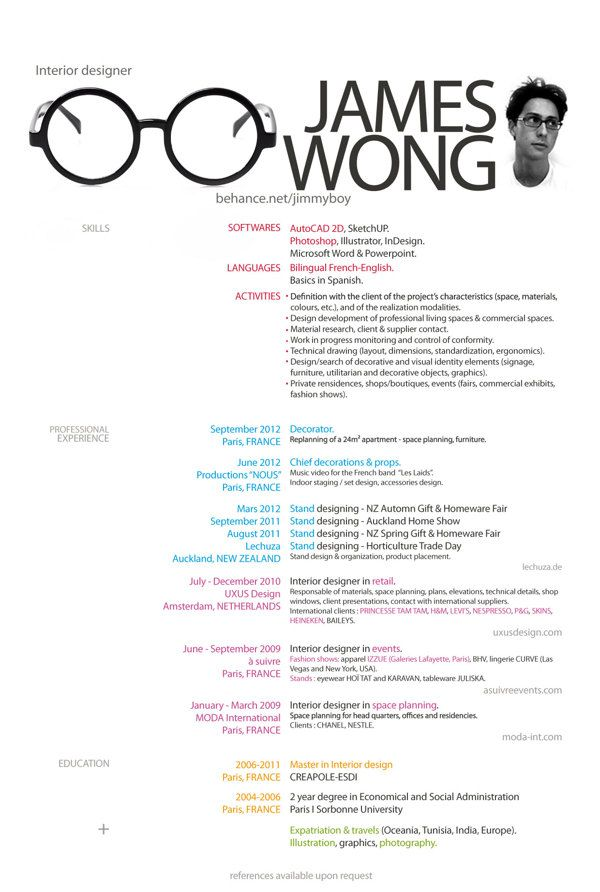 mon cv my cv by james wong via behance - Interior Designer Resume