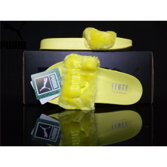 16b2f4abcc16 Women s Puma x Rihanna Leadcat Fenty Fur Slide Sandals Line Yellow ...