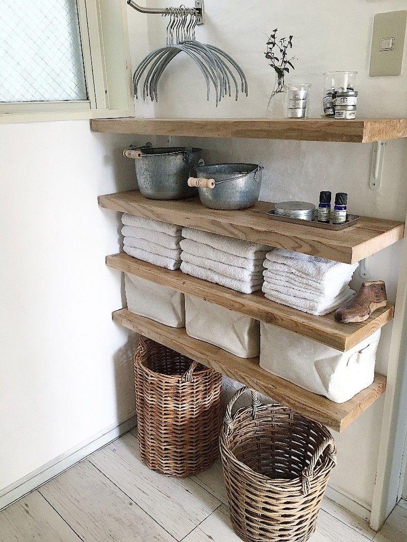 タオル収納棚も素敵に快適に タオル 収納 棚 インテリア 収納