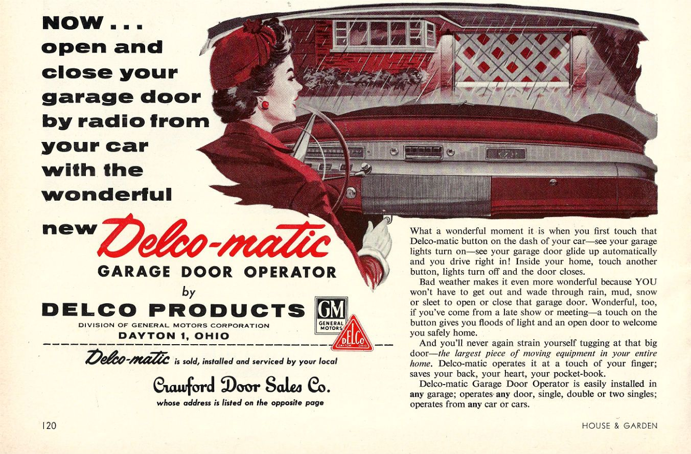 Delco Matic Garage Door Operator Ad From 1956 My Personal