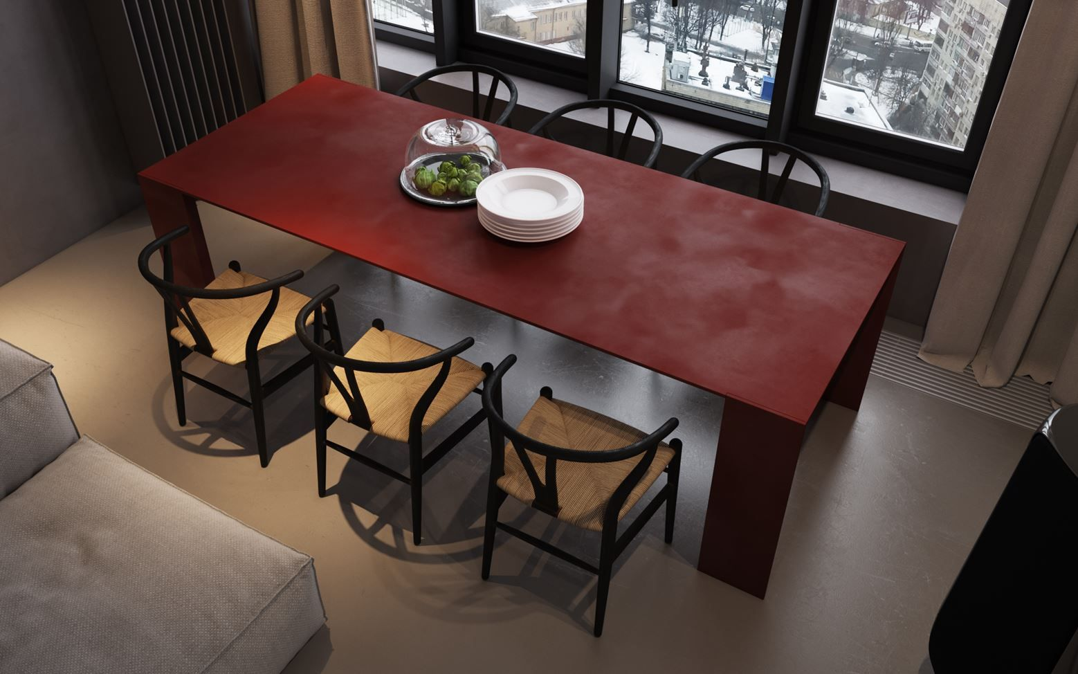 Antique Red Metallico Table By Piero Lissoni For Porro. Built Entirely Of  Solid Plates Of Aluminum With A Baked, Brushed, Buffed And Waxed Paint  Finish.