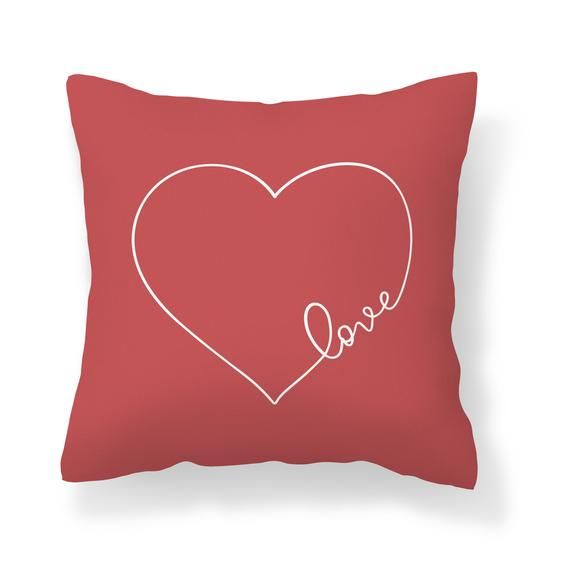 Red Love Heart Throw Pillow Cover | Valentines Day Decor | Cranberry Red Valentine Pillow | Wedding Newlywed Gift