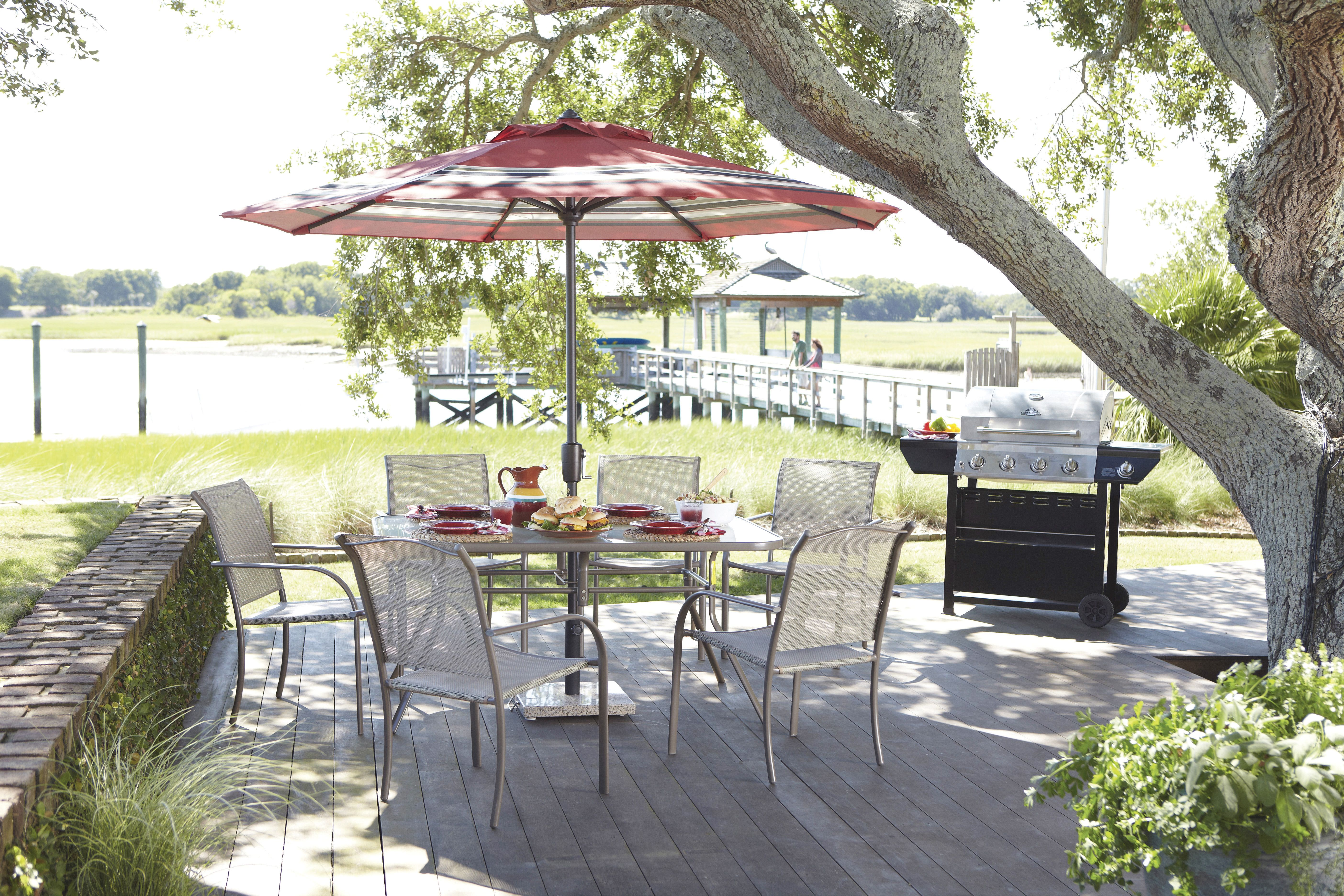 Add color to your patio set with festive umbrellas