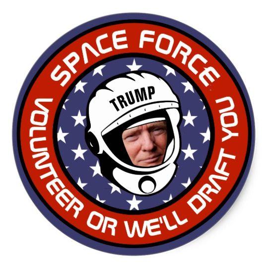 Trump Space Force Recruitment Parody Classic Round Sticker