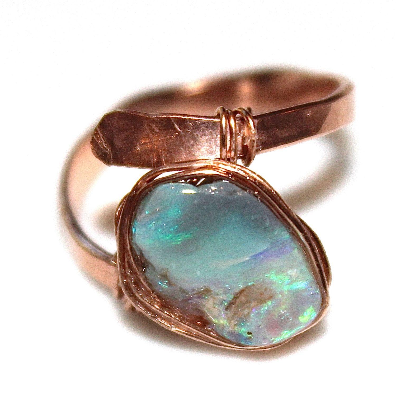 Australian Opal Ring Black Opal Ring Modern Ring Wedding