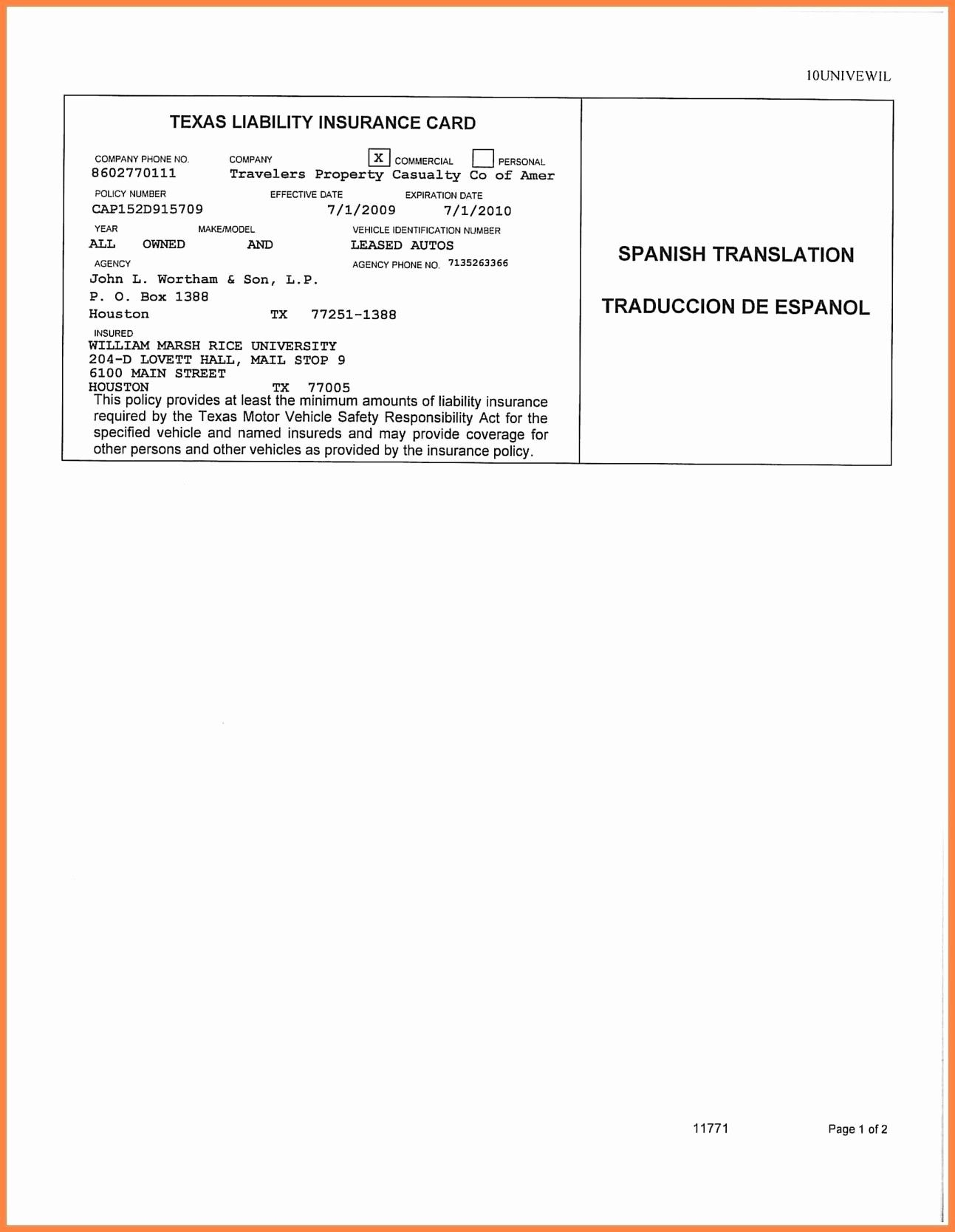 Auto Insurance Card Template Free Download 2 Templates Free