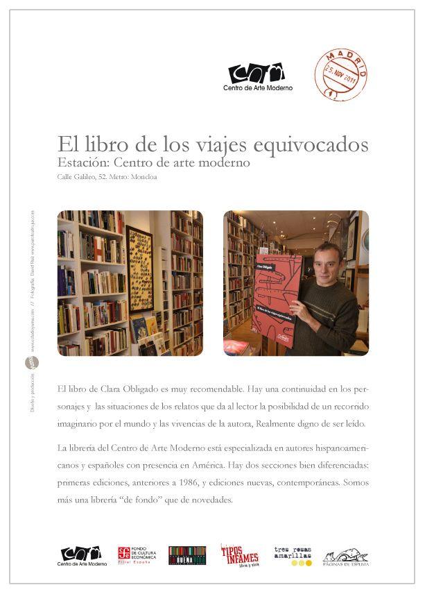 """Cartel realizado para """"El libro de los viajes equivocados"""" en la librería Centro de arte moderno"""