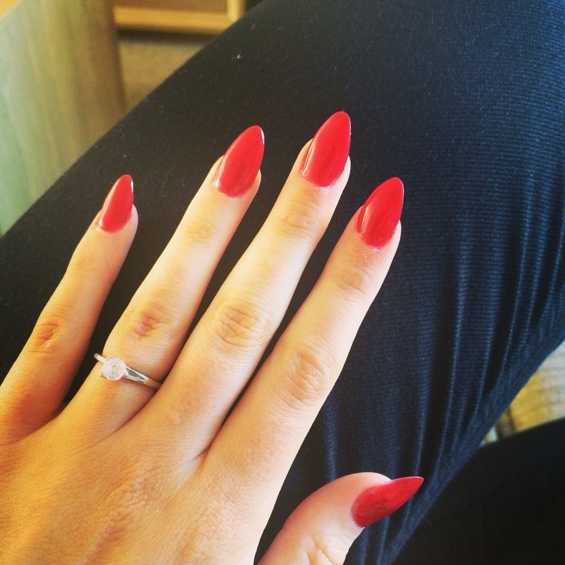 Red Almond Nails Red Nails Red Acrylic Nails Almond Nails Red