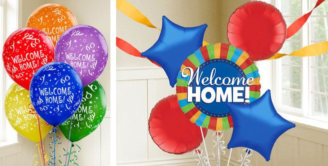 Welcome home balloons party city hollys home pinterest combine welcome home balloons with solid color tableware and matching party supplies for a custom party theme teraionfo