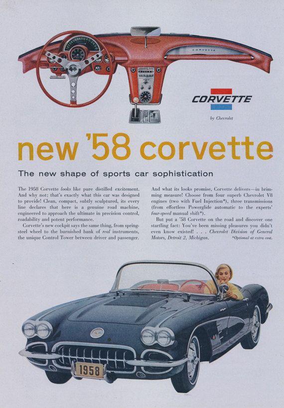 1958 Corvette Ad Chevrolet Sports Car Vintage Auto Advertisement