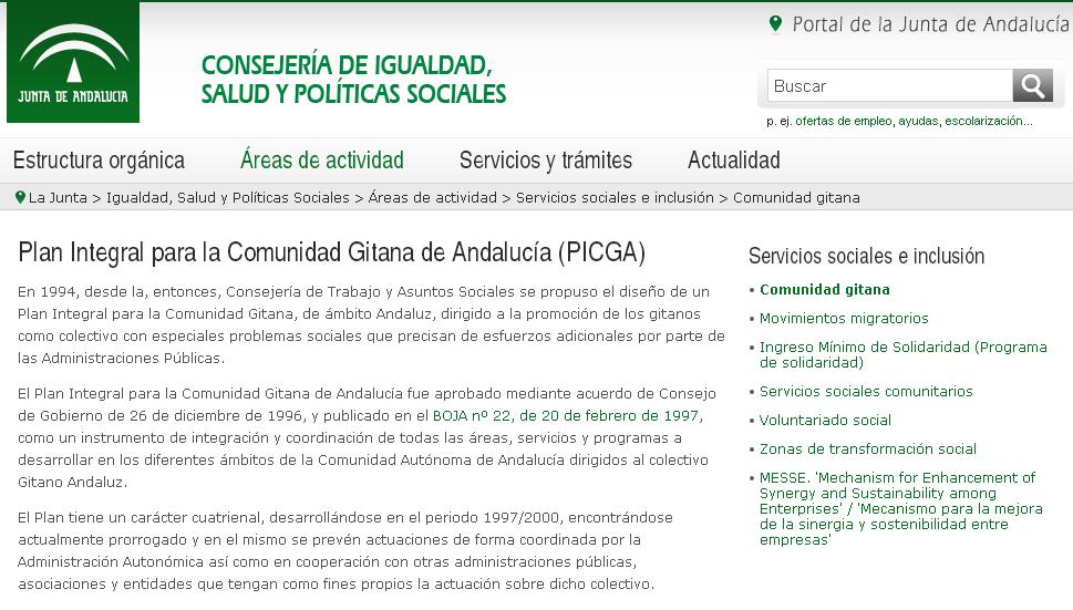 Enlaces Plan Integral Para La Comunidad Gitana De Andalucía Picga Consejería De Igualdad Salud Y Políticas Sociales Ins Política Social Gitanas Andalucía
