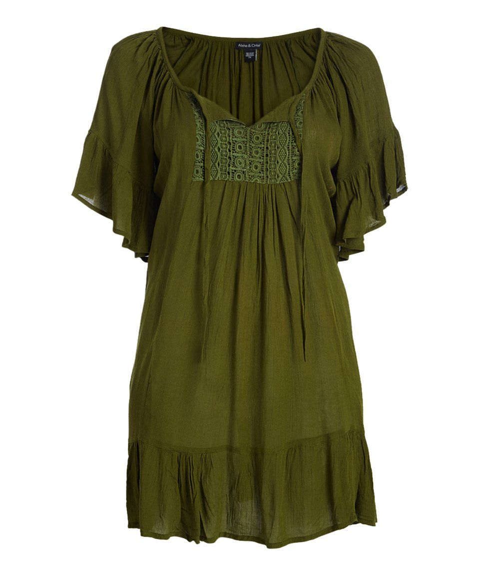 Take a look at this olive lace peasant dress plus today pretty